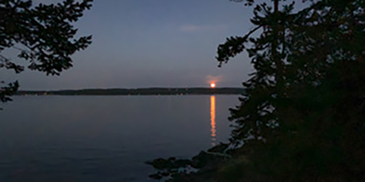 moonrise over Lopez Island